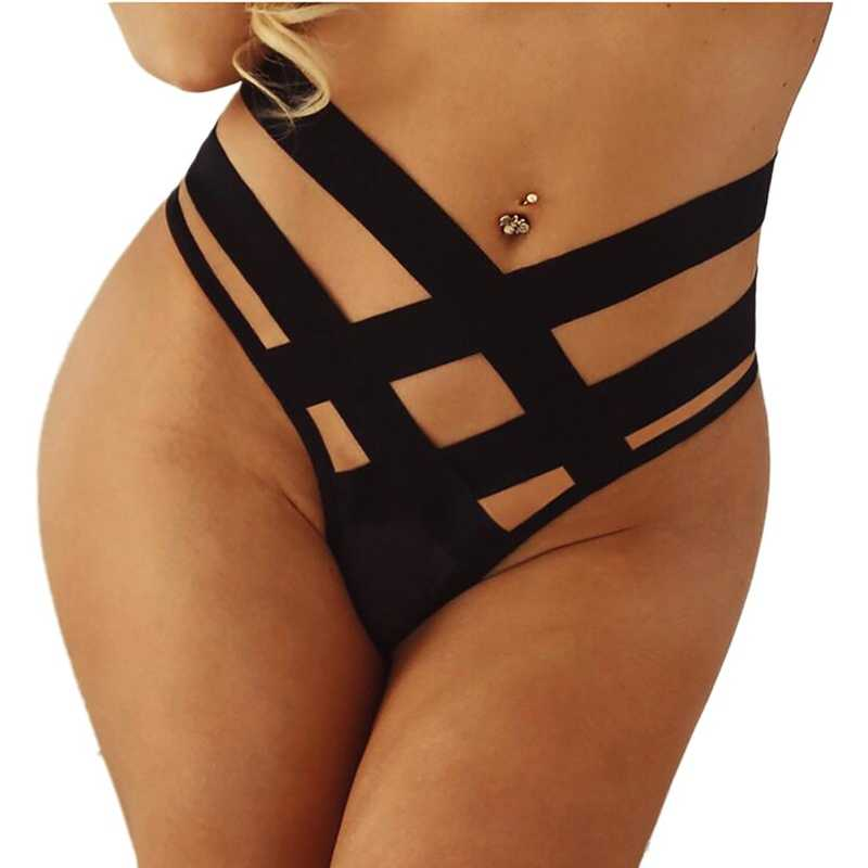 セクシーな黒の模造女性gストリングg包帯中空弦ファッション下着女性パンティー高層とストラップ