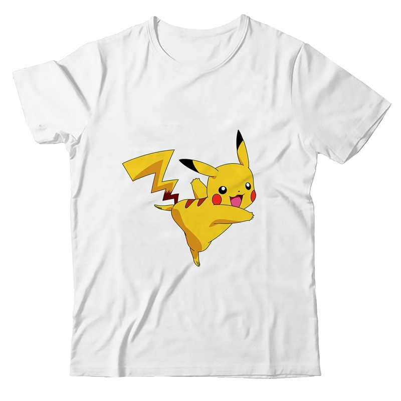 Pikachu PokemonCartoon Harajuku verano talla grande suelto cuello redondo Modal manga corta Camiseta Homme moda Casual camisetas A19531