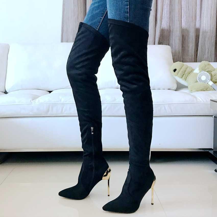 Hitam Di Atas Lutut Sepatu Wanita 11 CM High Heels Botas Faux Suede Sepatu Kulit Sepatu Musim Gugur Musim Dingin Wanita Peregangan Salju Boots