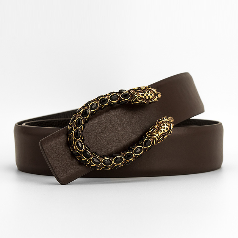 Designer Luxury Brand Belts For Men Genuine Leather Belts Women Tiger Head Water Drill Copper Buckle Cowhide Belt For Jeans