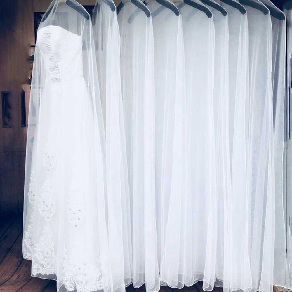 Длинные 160 см 180 см прозрачные мягкие тюлевые пылезащитный чехол для домашней одежды свадебное платье, одежда свадебное платье протектор сетчатая пряжа