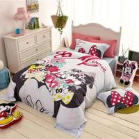 Disney 3D Cartoon Mickey Minnie Mouse Winter Thick Bedding Set Cotton Comforter Duver Cover Pillowcase Bedlinens for Children
