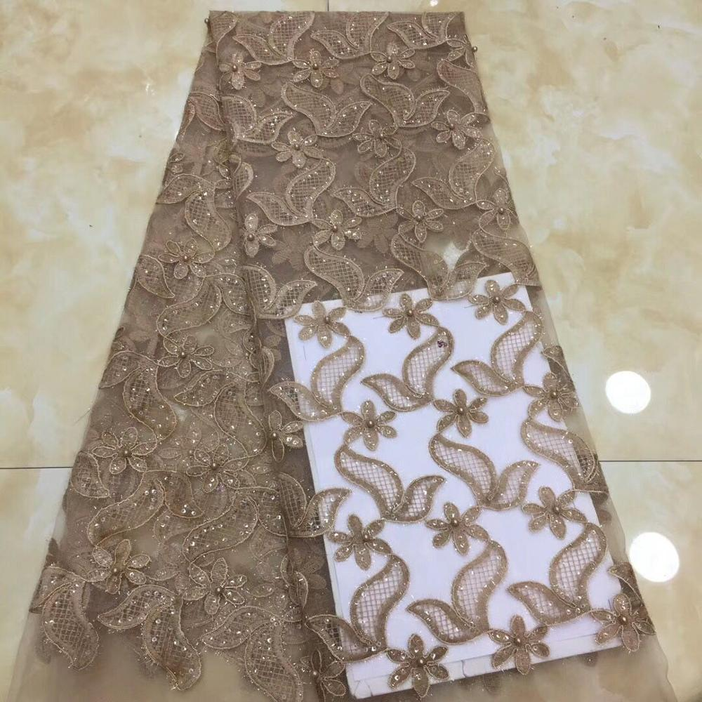 African Tulle Lace High Quality 3D flowers African Beads Lace Fabric The New arrive High Quality African Lace Fabric-in Lace from Home & Garden    3