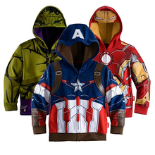The Avengers 3-8yrs Boy's Fashion Jacket & Coat,Baby Boy's Thor Cosplay Outerwear Kids Captain America Jackets Girls Hoodies