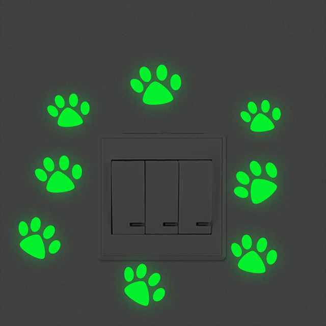 Glow In The Dark Puppy Paw Wall Sticker