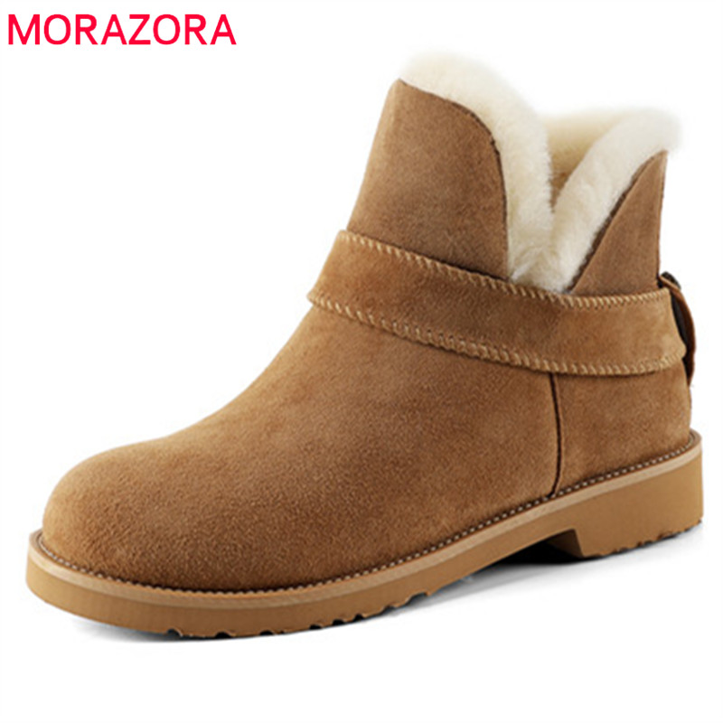 MORAZORA Suede leather snow boots women wool fur keep warm platform shoes winter ankle boots top quality women boots size 34-41 ribetrini 2017 fashion cow suede turned over edge ankle snow boots sewing warm fur platform low flat women shoes size 34 39