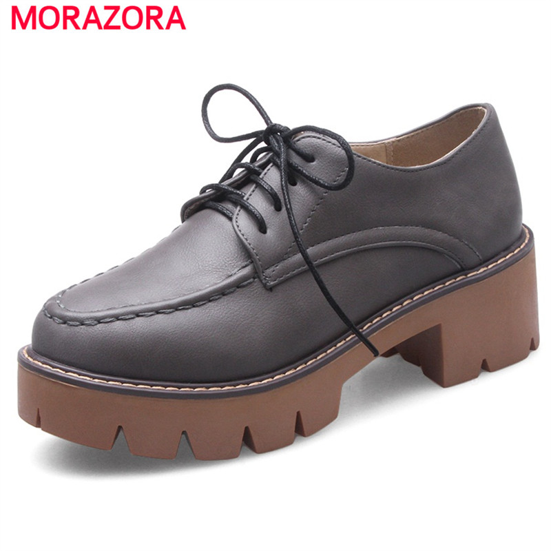 MORAZORA Large size 34-43 platform shoes fashion retro lace-up high heels shoes round toe single PU solid spring women pumps