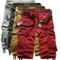 2016 Nuevos hombres del verano de carga militar pantalones cortos bermuda masculina sueltos multibolsillos masculinos pantalones cosechados sólidos más tamaño (sin cinturón)
