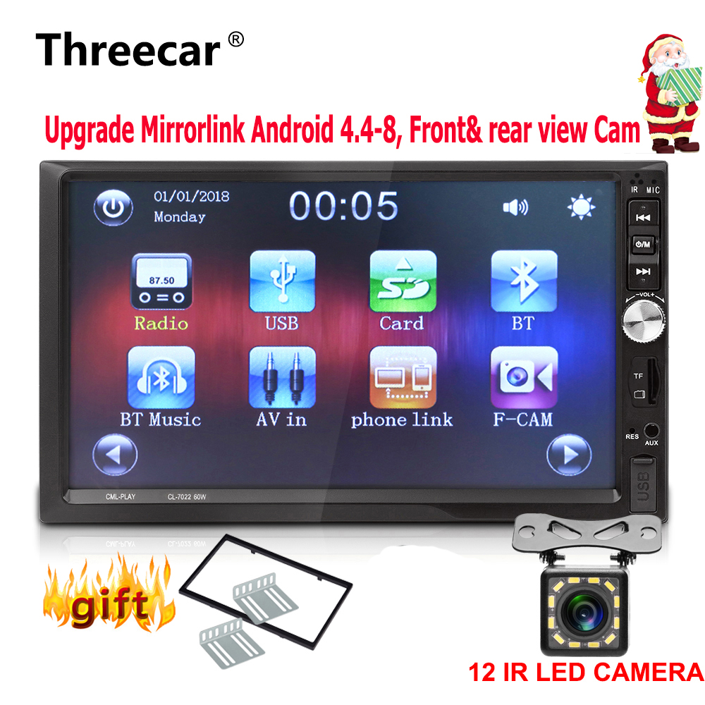 7'' 2 Din Car Radio Stereo 1024*600 car universal mirrorlink Android Bluetooth USB double din auto radio Front & rear view cam