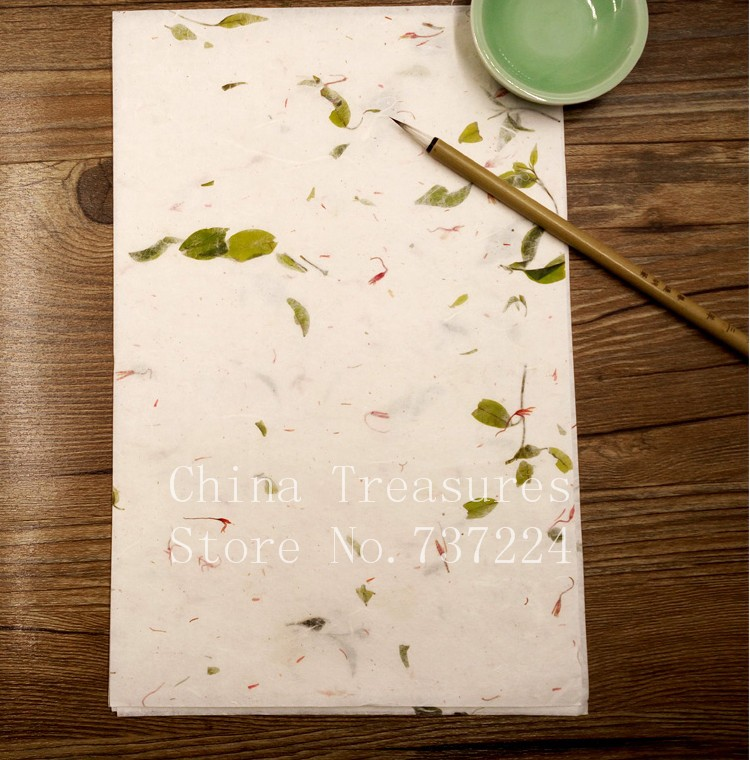 Small Size Handmade Chinese Calligraphy Paper Fiber Xuan Paper Letter Paper Xuan Zhi Handcraft Paper Flowers&Tea Leaves