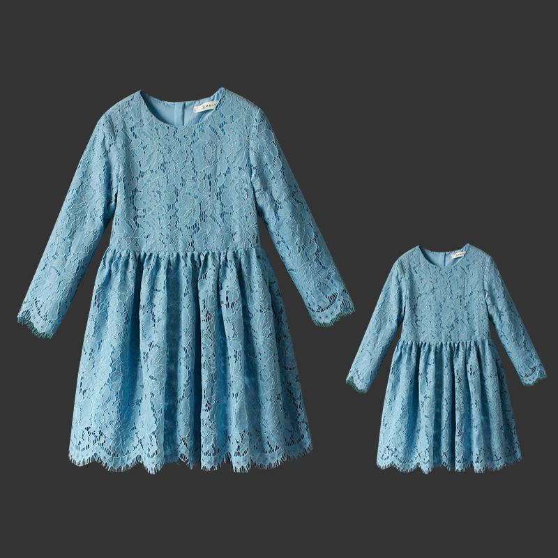 Brand design lace plus large size long pleated skirts mother and girl dresses pregnant women family matching clothes party dress