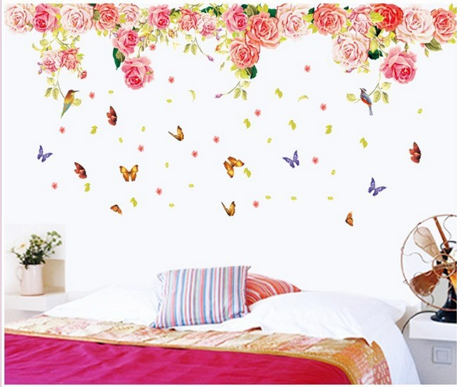 3d Diy Lowest Price Butterfly Rose Flower Wall Sticker Home Decor For Living Room Poster