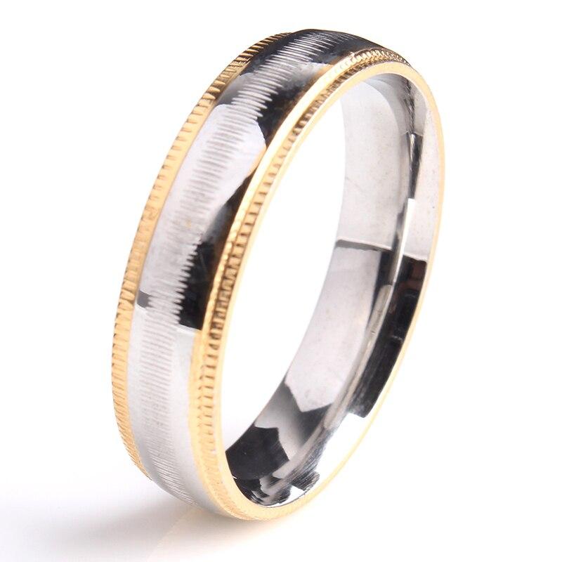 6mm gold gear cross stripe 316l stainless steel wedding rings for men women wholesalechina - Gear Wedding Ring