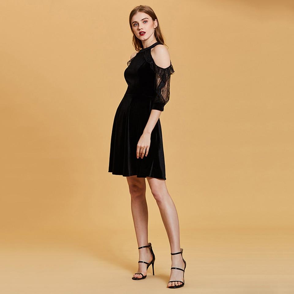 Dressv black cocktail dress cheap scoop neck a line sleeveless ...