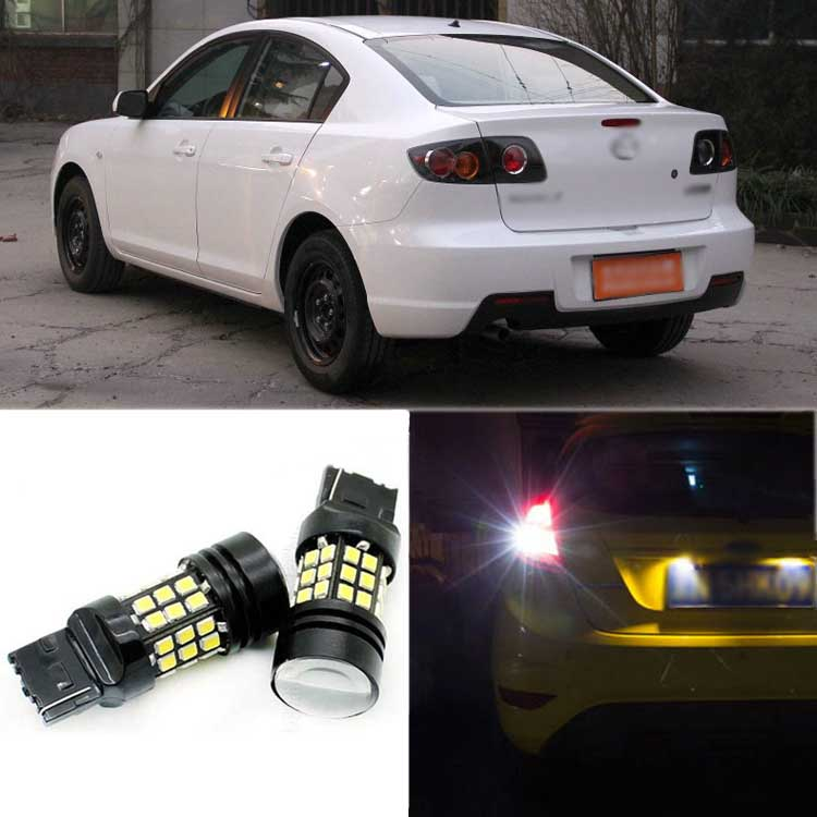 2pcs High Quality Superb Error Free 5050 SMD 360 Degrees LED Backup Reverse light Bulbs T20 For Mazda 3 error free t15 socket 360 degrees projector lens led backup reverse light r5 chips replacement bulb for hyundai tucson