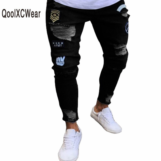 lo último 0c2da c11b3 US $19.14 52% OFF|QoolXCWear New Arrived Distressed Ripped holes Badge men  jeans hombre Slim Fit jeans men Hip hop skinny biker jeans streetwear-in ...