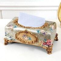 Masa kağıt peçete kutusu moda pompalama kağit kutu lüks reçine doku kutusu dekorasyon rustik vintage amerikan kağıt pompalama kutusu