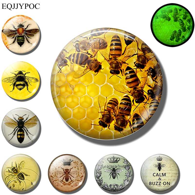 Gloeiende Bee magneet Lichtgevende Honeybee Mosquito Insect Dier Glas koelkast magneten Stickers message board Home Decor
