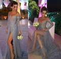 Grey Prom Dress 2017 A line Long Sleeve Tulle Party Evening Gowns Elegant Slit Applique Sexy V neck Pageant Dress For Women
