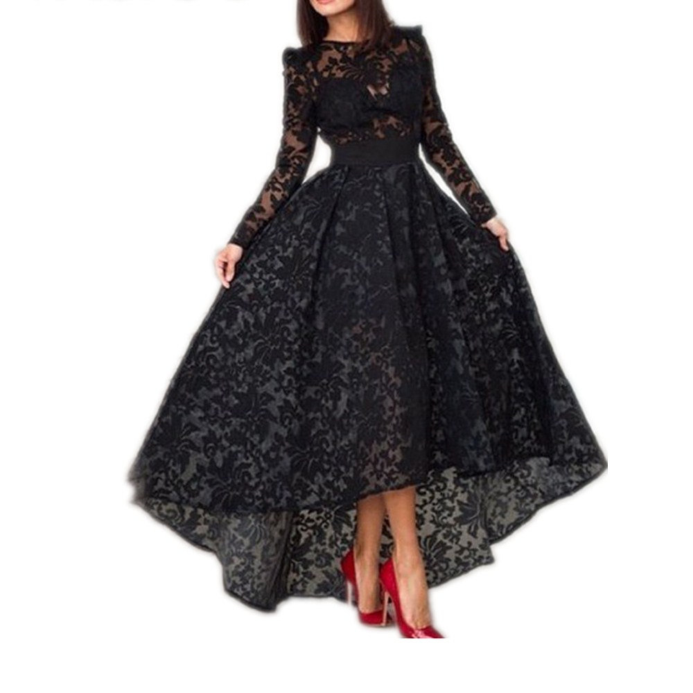 2019 new Elegant Women's A Line Evening Dresses Long Sleeves Black Lace Gowns Evening Dresses