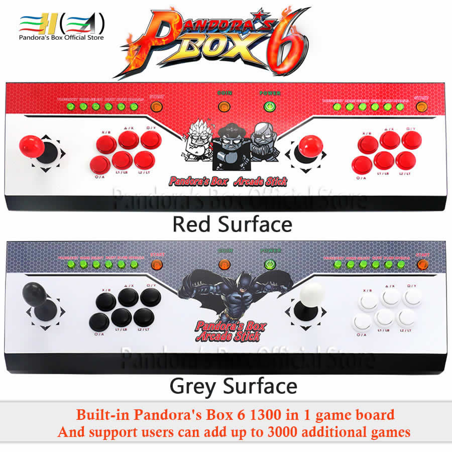 2 Players Pandora's Box 6 console 1300 in 1 arcade game joystick button usb  joystick for pc support fba mame ps1 games tekken 3d