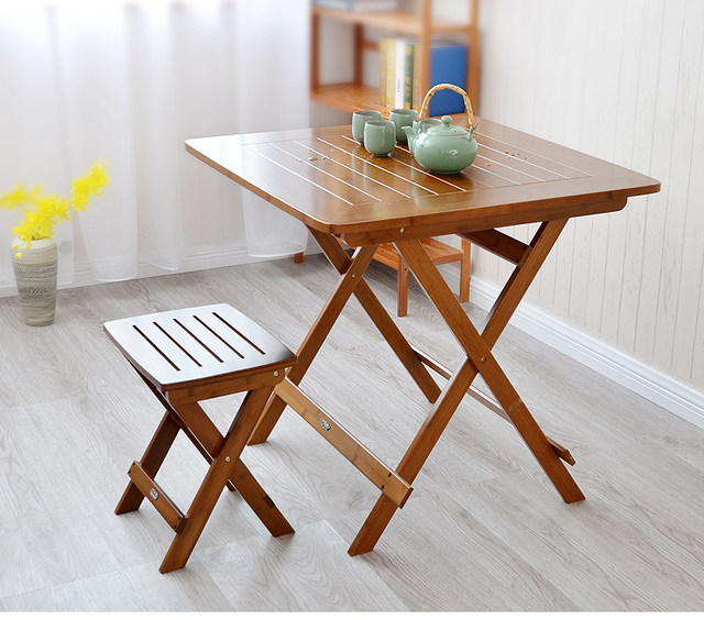 Genial Bamboo Furniture Dining Table Square 80cm Outdoor/Indoor Garden Table Legs  Foldable Portable Folding Dining Table Bamboo Wood