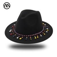 Woolen Felt Fedoras Winter Autumn Women Ladies Tassel Cowboy Hat Top Jazz Hat Fashion Bowler Hats