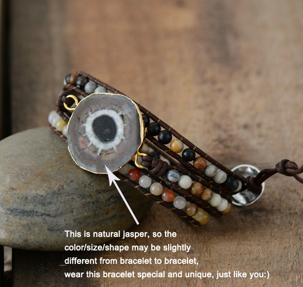Natural Stones Sun Jasper Charm Bracelets