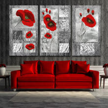 3 Pieces Wall Art Canvas Painting Red Poppy Flower Modern Print Artwork wall pictures for living room decoration No Frame