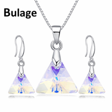 Bulage Original Crystals From Swarovski XILION Triangle Pendant Necklaces Drop Earrings Jewelry Sets For Women Lovers Gift joyashiny crystals from swarovski classic romantic heart pendant necklaces drop earrings jewelry sets for women lovers gift