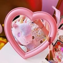 Espejo de escritorio estilo Kawai Vintage de dibujos animados, maquillaje elipse en forma de corazón, amor, sueño, decoración giratoria, espejo montado, regalo para chica