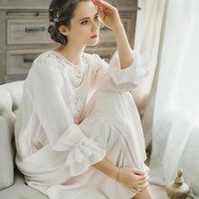 Women Loose Sleepwear Lace Long Sleeves Vintage Princess Sleep