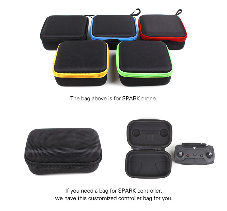 2pcs/lot Waterproof Portable Handheld Bag for DJI Spark Aircraft with EVA Lining + DJI Remote Controller Mini Storage Bag Case
