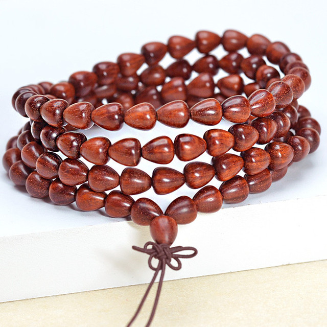 Blood drop beads sandalwood bracelets lobular red sandalwood prayer beads bracelet jewelry apple style 0209