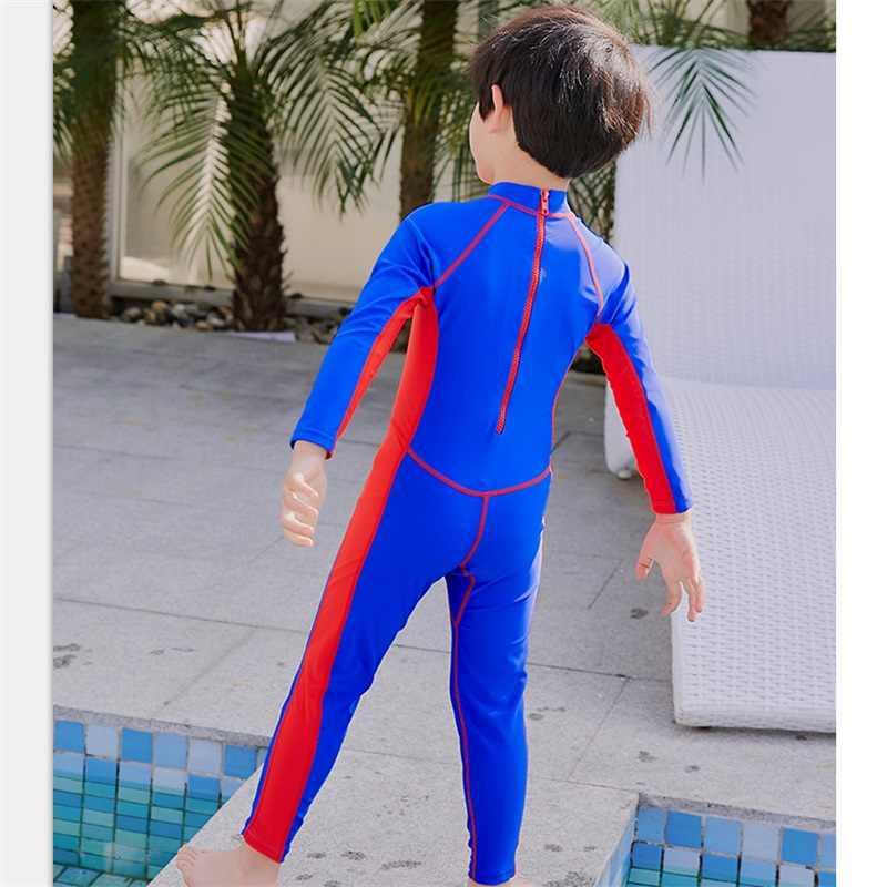 Детский купальник для мальчиков, купальный костюм, цельный, для серфинга, синий, с длинными рукавами, Maillot De Bain Enfant Gar on, защита от УФ-лучей