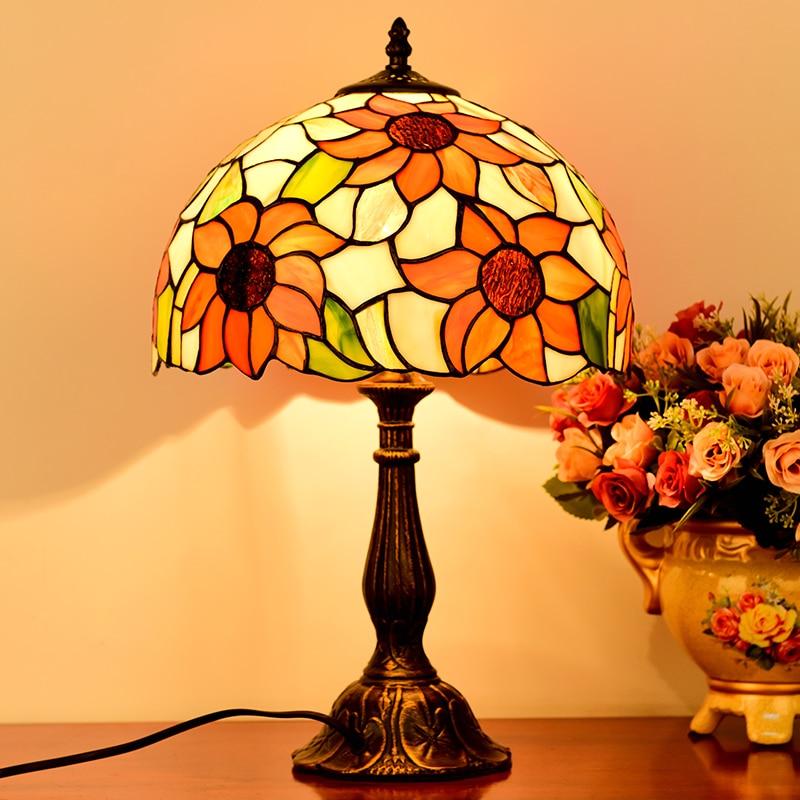Suspension en verre teinté style tiffany américain pour chambre lampe de chevet lampe d'étude de jardin