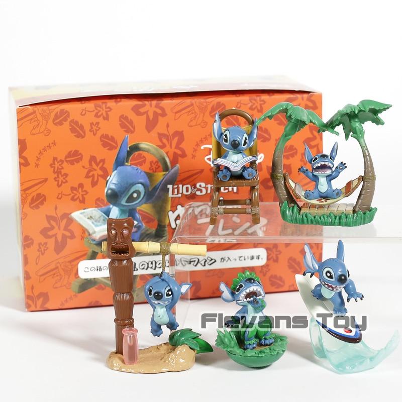 Dibujos Animados Kawaii Lilo Stitch Mini Stitch Figuras Pvc Juguetes Colección Modelo Figuras Decoración De Coche Muñecas 5 Unidsset