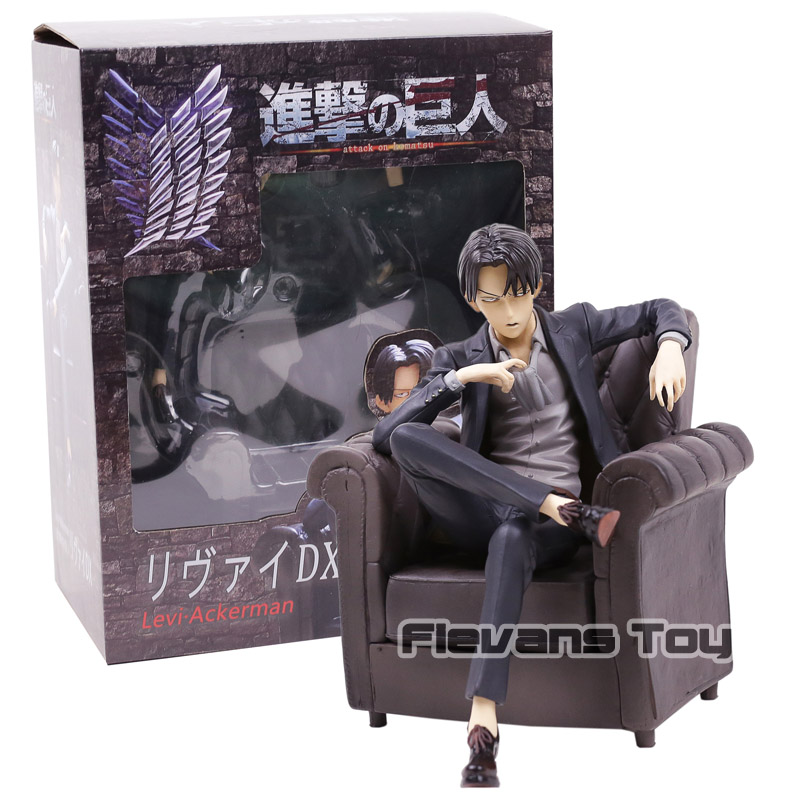 Attack on Titan Black Suit Levi Ackerman Sitting Sofa Ver. PVC Figure Collectible Model Toy attack on titan levi ackerman sitting sofa ver pvc figure collectible model toy 12 5cm
