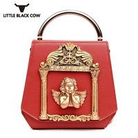 Famous Brand Woman Bags 2019 New Vintage Pearl Chains Shoulder Bag Luxury Handbag Crossbody Bags PU Leather Angel Tote Bags
