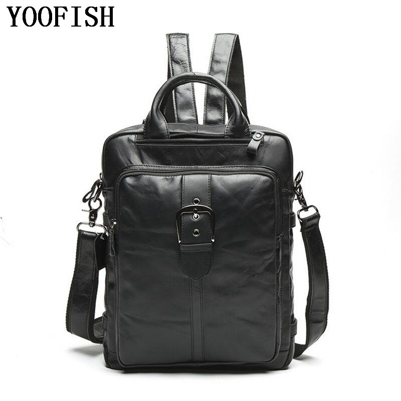 цена Genuine Leather Men Backpacks Man Travel Bag function bags Backpack Male women Backpack Schoolbag Fashion Casual Backpack