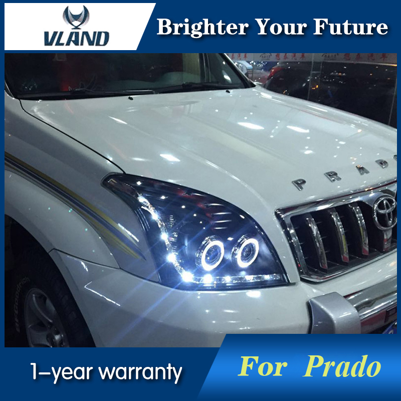 LED Angel Eyes Head Lamp For Toyota Prado FJ120 LC120 2003 2004 2005 2006 2007 2008 2009 LED Headlight Bi Xenon Projector Lens 2010 led angel eyes headlights for toyota prado