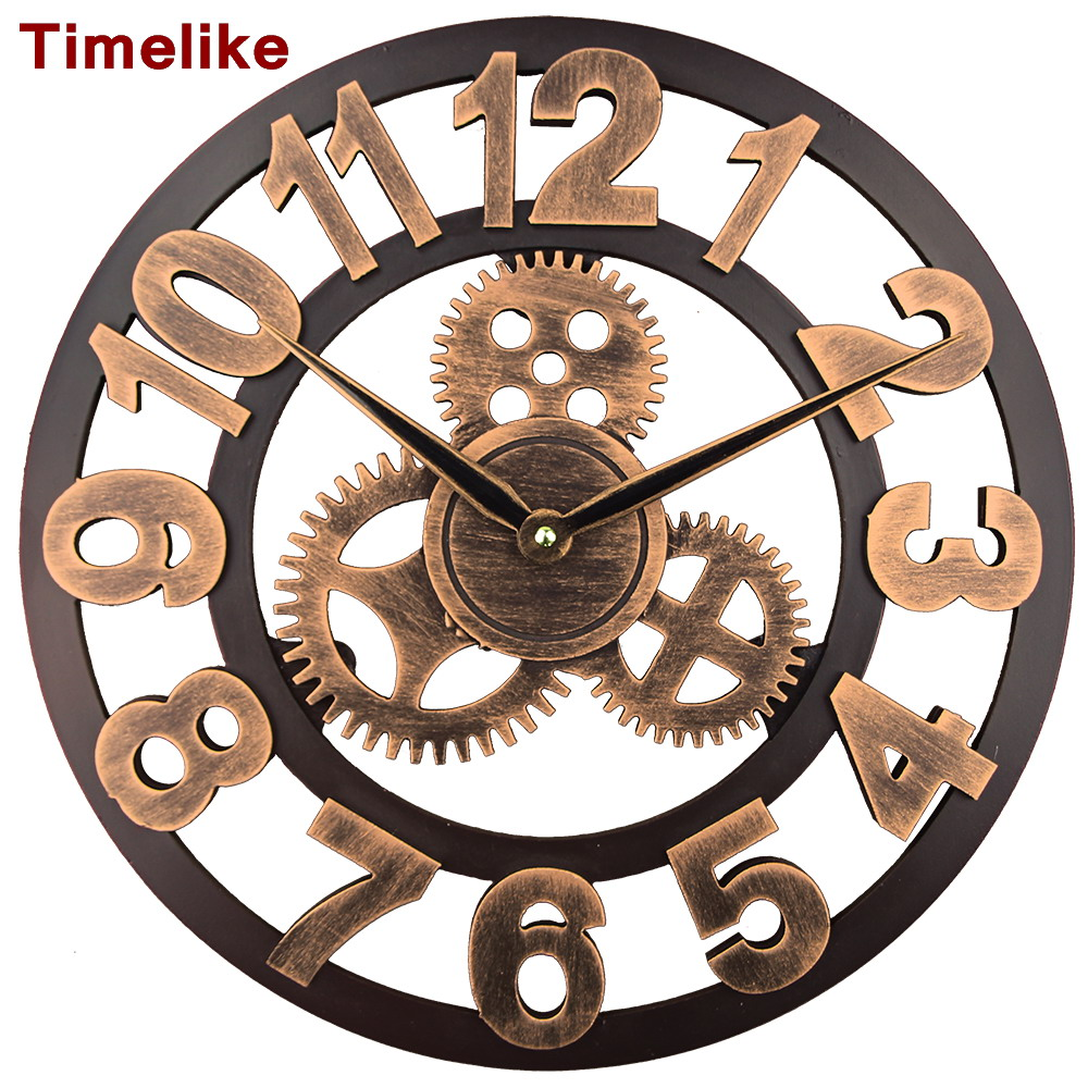 2017 art large gear wall clock handmade 3d retro rustic decorative 2017 art large gear wall clock handmade 3d retro rustic decorative wall watch luxury wooden vintage clock art industrial in wall clocks from home garden amipublicfo Choice Image
