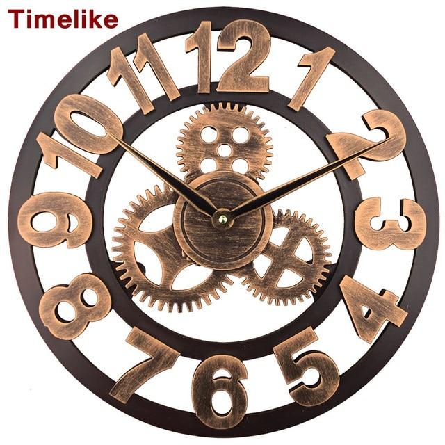 2018 Art Large Gear Wall Clock Handmade 3D Retro Rustic Decorative