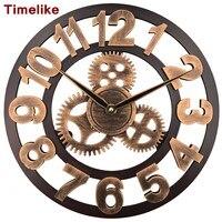 2018 Art Large Gear Wall Clock Handmade 3D Retro Rustic Decorative Wall Watch Luxury Wooden Vintage Clock Art Industrial