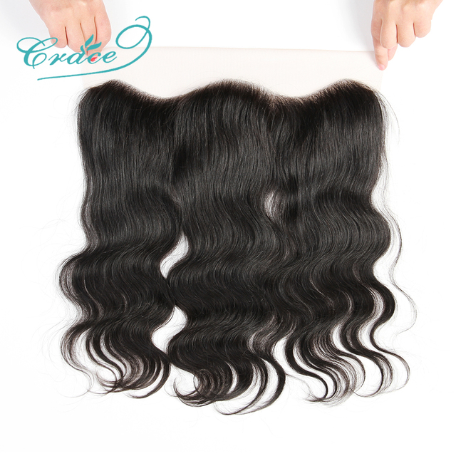 ALI GRACE Hair Brazilian Body Wave Lace Frontal 13X4 Ear To Ear Free Middle Part 100% Remy Human Hair Medium Brown Lace Frontal