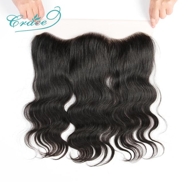 ALI GRACE cheveux brésilien corps vague HD dentelle frontale 13X4 oreille à oreille partie libre 100% Remy cheveux humains moyen brun dentelle frontale