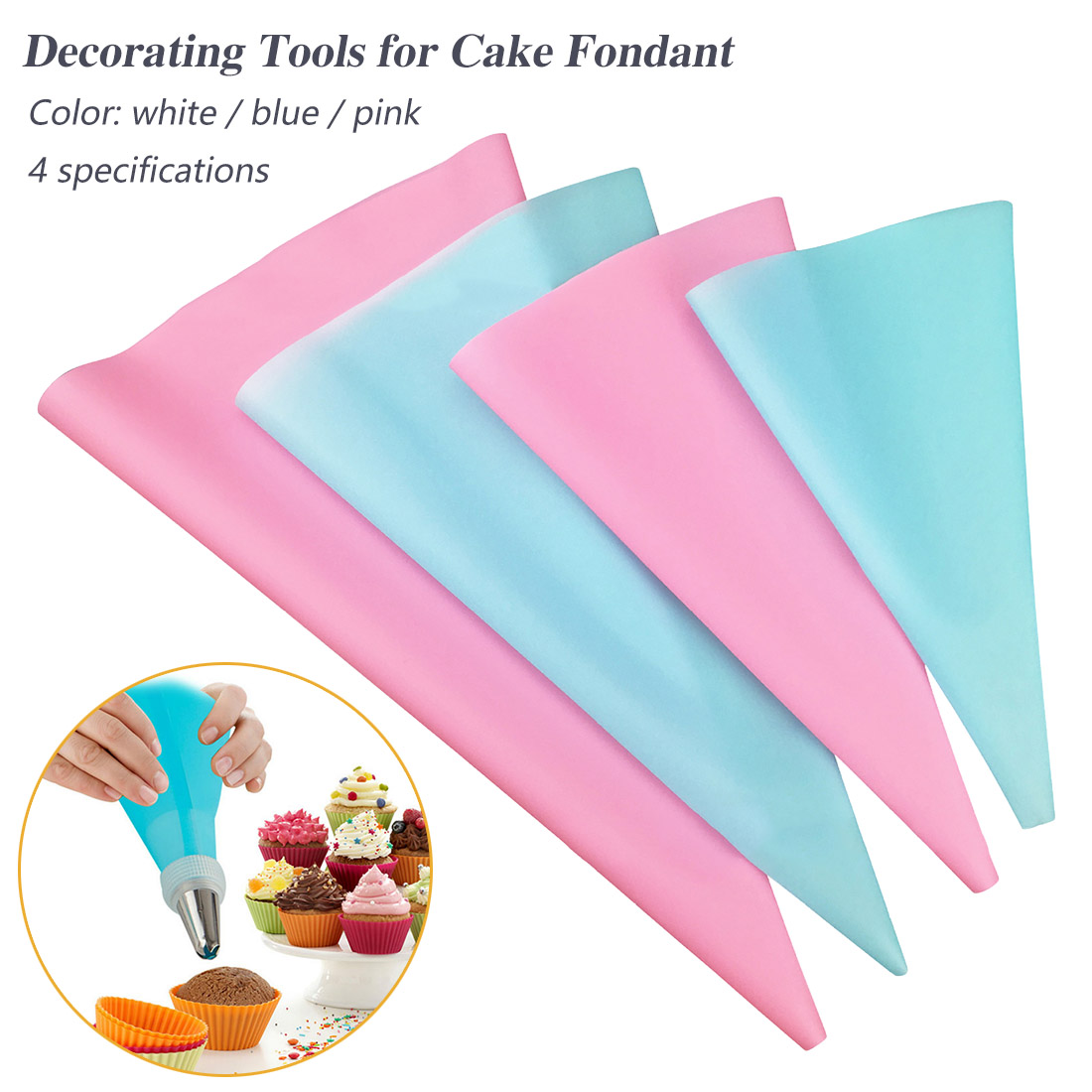 Pop 1pcs Confectionery Bag Silicone Icing Piping Cream Pastry Bag Nozzle DIY Cake Decorating Baking Decorating Tools in Dessert Decorators from Home Garden
