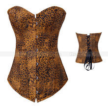 3b5a5328899 Cagely Leopard Demin Boned Corset Floral Pattern Outerwear Top Sexy Lace up  Jean