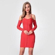 цена на Womens New Cold Shoulder Spaghetti Strap Mini Bodycon Dress Fashion Long Sleeve Metal Ring Lace UP Party Bandage Dresses