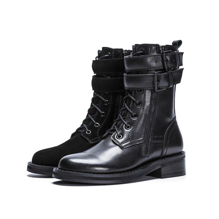 MLJUESE 2019 ผู้หญิงข้อเท้ารองเท้าหนังวัวสายคล้องคอสีดำฤดูหนาว warm fur รองเท้าส้นรองเท้าผู้หญิงขนาด 34 40-ใน รองเท้าบูทหุ้มข้อ จาก รองเท้า บน   2